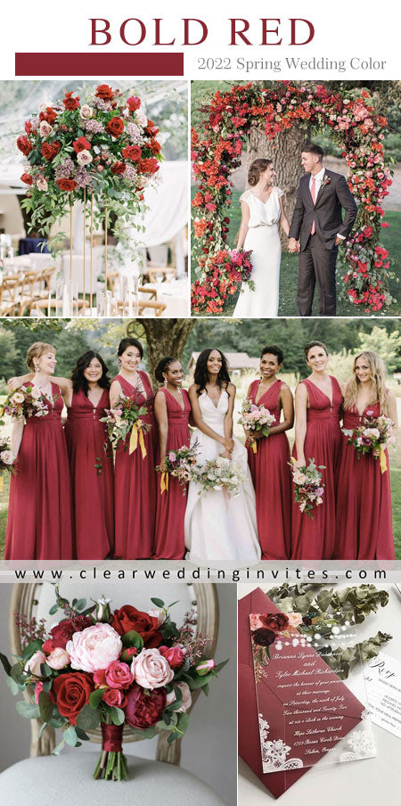 Red color palette conveys elegance and pureness. You can add the color of pink into any element of your wedding