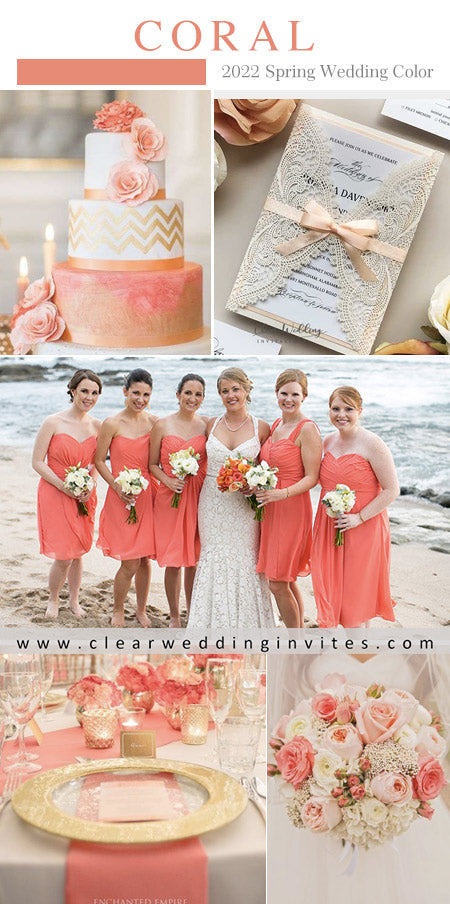 Coral and peach color palette is great colors for spring wedding in 2022