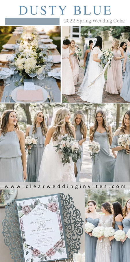 dusty blue bridesmaid dresses with white and dusty blue bouquets