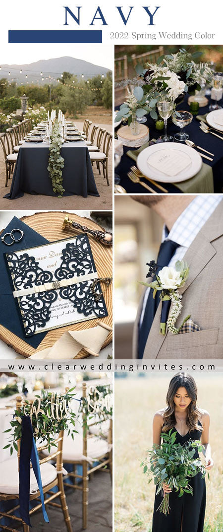 elegant navy mixtures of neutral colors is popular for 2022 spring wedding