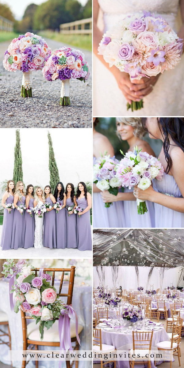 Purple, Lilac and Blush Pink Wedding Color decoration ideas