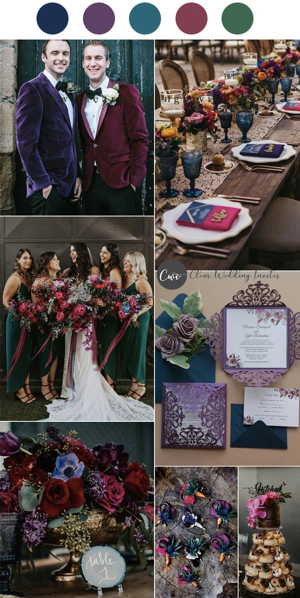 Raspberry Pink and Dark Teal Jewel Tone bridesmaid dresses and table flower decoration