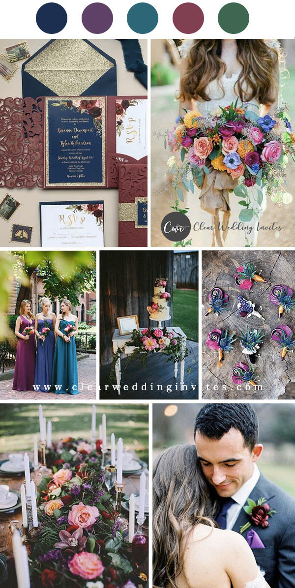 Raspberry Pink and Dark Teal Jewel Tone wedding invitations and color palette