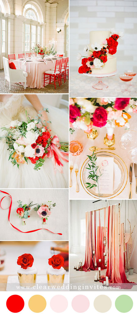 Timeless Red, Gold and white Wedding Color Palettes for Fall and Winter Brides