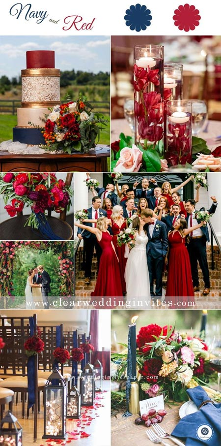Timeless Red, Navy and white Wedding Color Palettes for Fall and Winter Brides