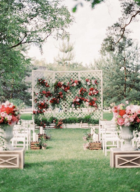 Red-and-Pink-Wedding-Wedding-aisle-outdoor,-Outdoor-wedding-altars,-Ceremony-backdrop-decoration-with-lush-organic-flowers