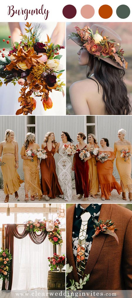 Burgundy and burnt orange Timeless Red Wedding Color Palettes for Fall and Winter Brides