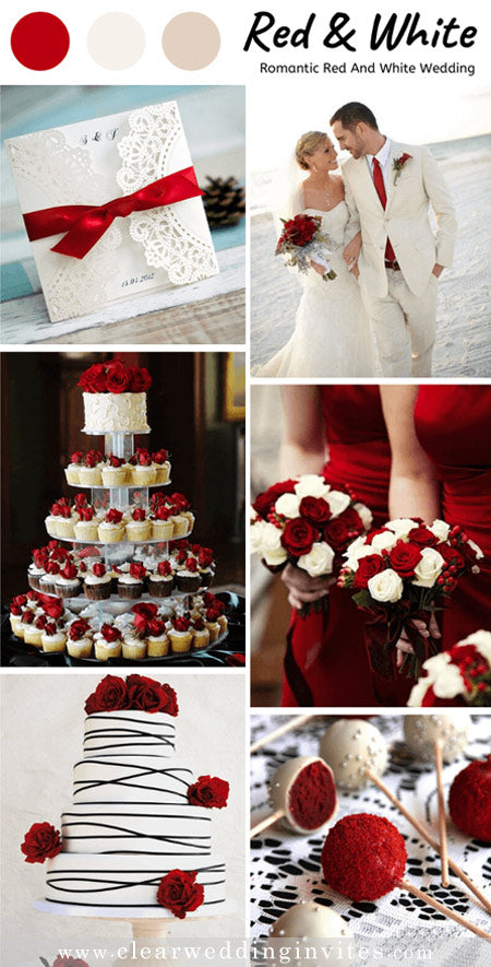 Timeless Red and white Wedding Color Palettes for Fall and Winter Brides