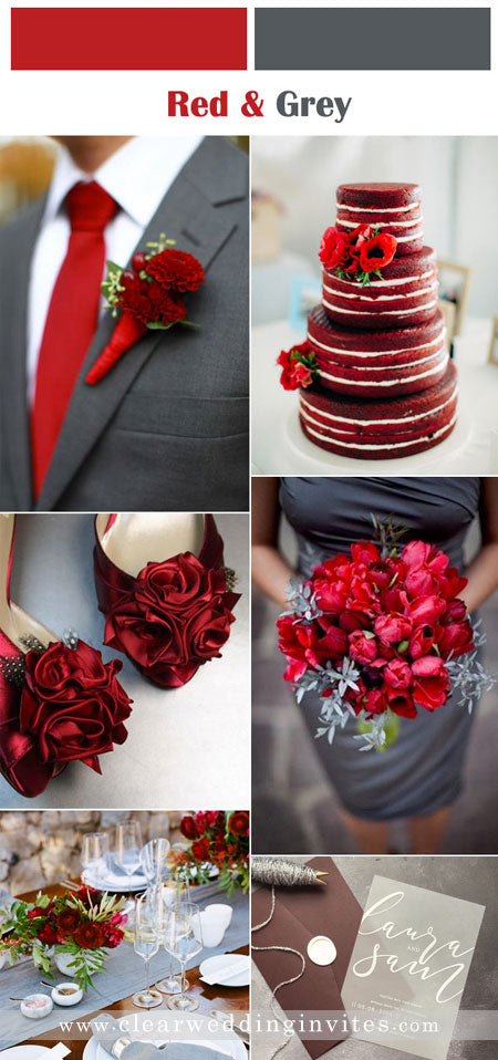 Timeless Red, Gray and white Wedding Color Palettes for Fall and Winter Brides