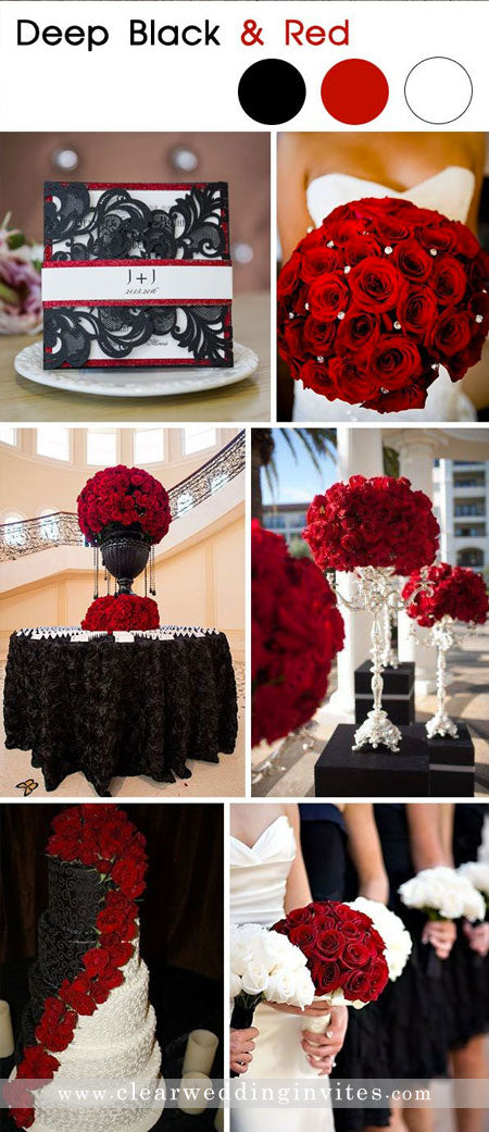 Timeless Red, black and white Wedding Color Palettes for Fall and Winter Brides