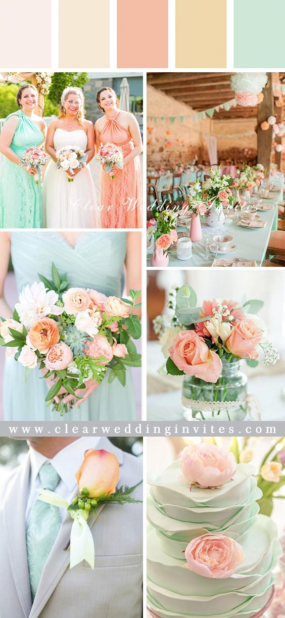 Trendy and Romantic Blush Pink and Mint Wedding Color Ideas