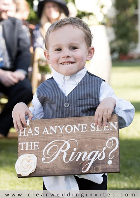 ring bearers have recently changed his pillow for a sign