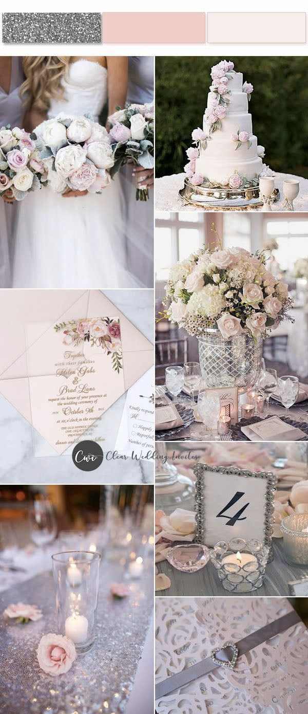 Rose Gold, Blush and Silver wedding table centerpiece and reception decorraion idea
