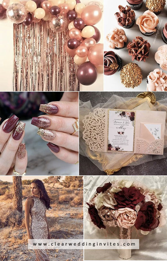Rose Gold and Dark Wine The Most Romantic Winter Wedding Color Combs for 2021