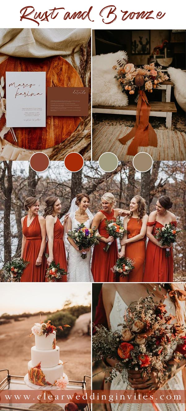 Rust or Terracotta is still the hottest color for fall weddings. There are endless ways to incorporate this chic retro color onto your wedding decor,