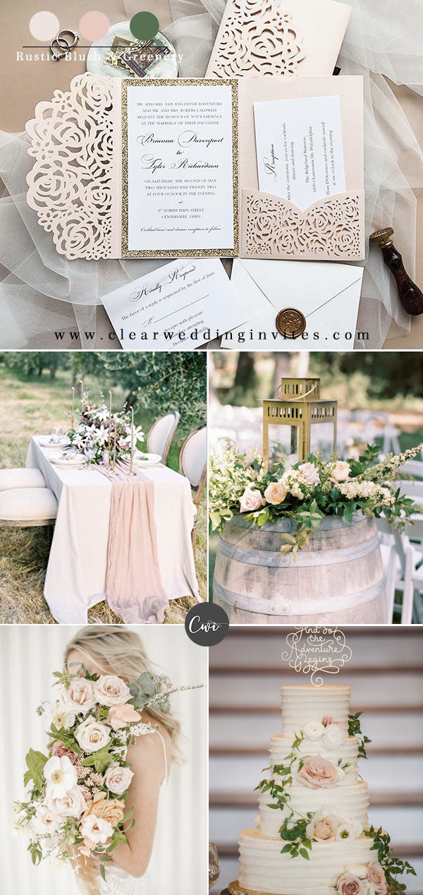 Blush pink, rose gold and greenery Stylish Rustic Themed Wedding ideas for 2022 Brides