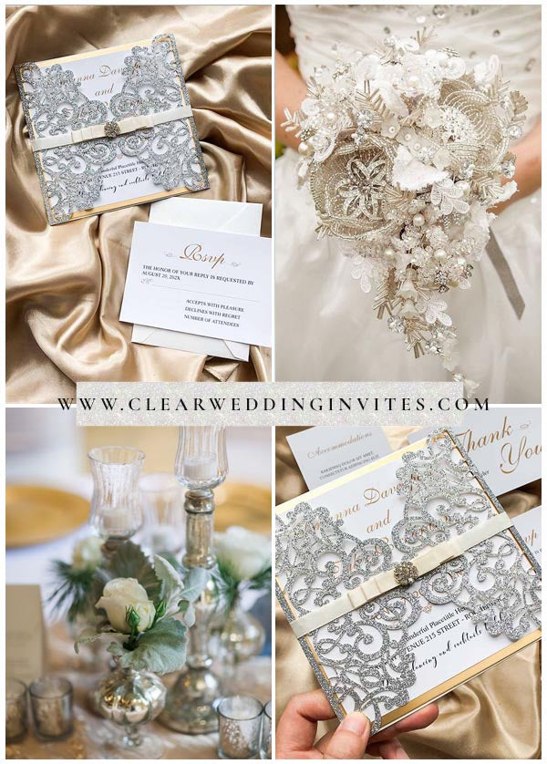 If you want a more luxurious winter wedding invitation style, these will be right up your alley.