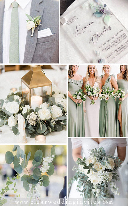 Sage Green Wedding Color Palette and Matching Wedding Invitations
