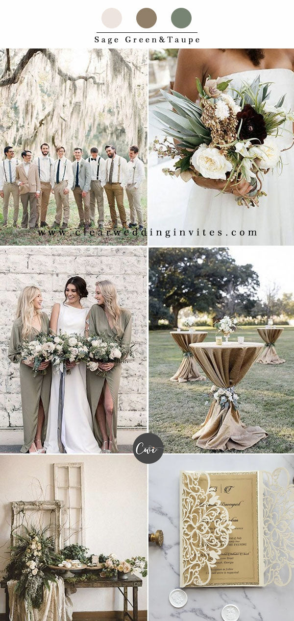 Sage Green&Taupe Wedding Color Combos for Late Winter and Early Spring