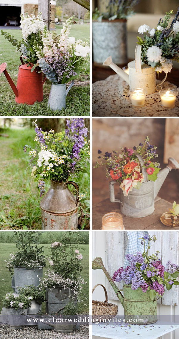 Several AWESOME RUSTIC COUNTRY WEDDING IDEAS TO USE WATERING CANS