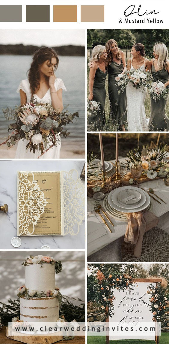 Olive green and warm beige nature Earth Tone Fall Wedding Color palettes