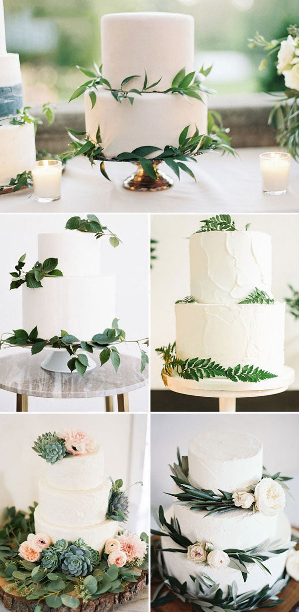 Nature Green and White Wedding Cakes for Boho Weddings romantic and elegant wedding with gorgeous green plants