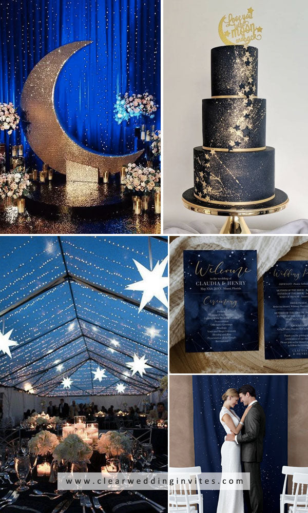Starry Blue and Gold Celestial Wedding Whimsical Wedding Decoration Ideas