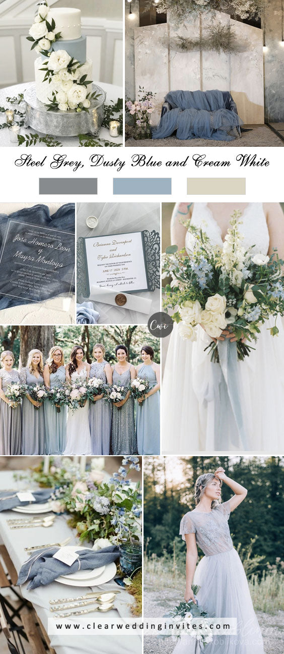 Steel Grey, Dusty Blue and Cream White breathtaking NEUTRAL WEDDING COLOR PALETTE IDEAS in 2022
