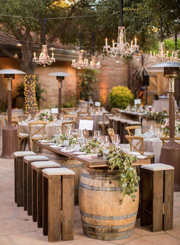 Stunning Country Rustic Wedding Ideas with wine barrel table runner