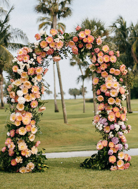 Summer-Tropical-Wedding-Ceremony-Decor,-Pink-and-Coral-Lush-Floral-Arch
