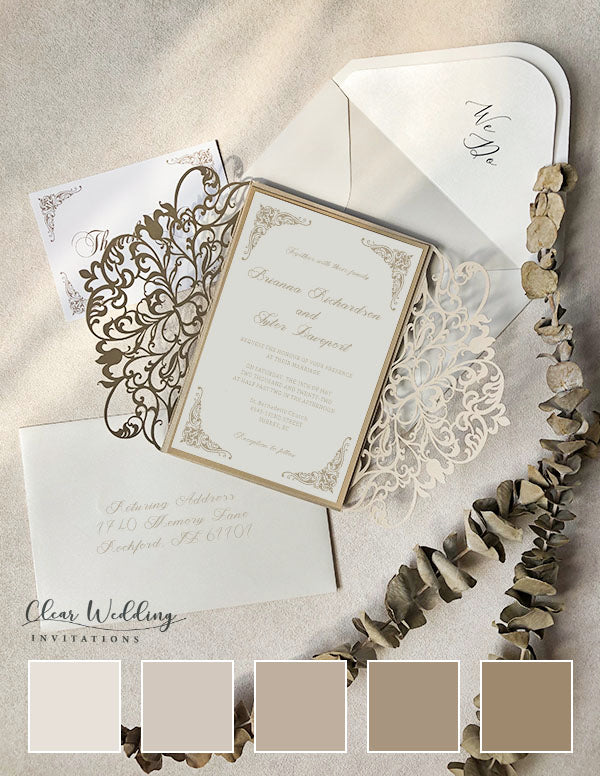 TAUPE AND IVORY ELEGANT LACE CUT WEDDING INVITATIONS and color palette
