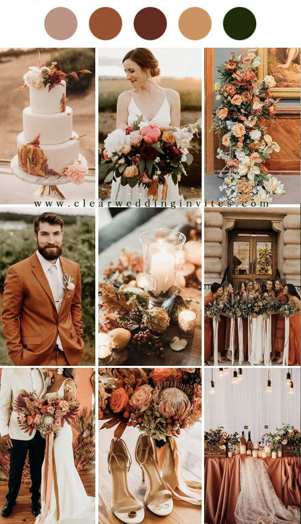 Terracotta, Orange and Brown rustic wedding bouquet and flower decorations