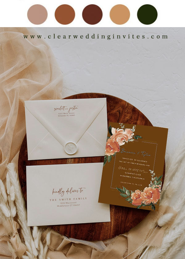 Terracotta, Orange and Brown wedding invitations with affordable price