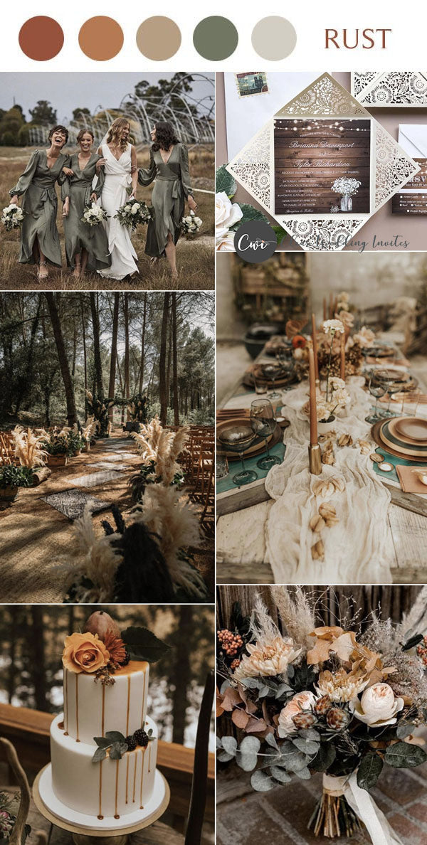 Terracotta, Orange and Brown warm earthy tone wedding color palette