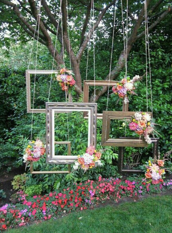 Forest Themed Garden Wedding Ideas with Photo Framed and Magenta Flowers for Summer
