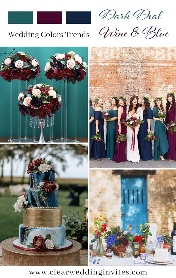 Trendy Romantic Darl Teal and Wine Red Fall Wedding Color Ideas