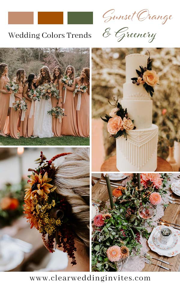 Trendy Romantic Rustic and Greenery Fall Wedding Color Ideas