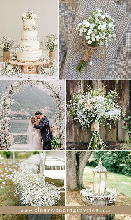 Using baby's breath flowers at your wedding is one of the best budget-friendly and long-lasting options