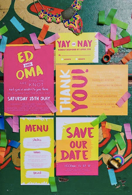 bold and bright wedding invites hit the spot with neon colors
