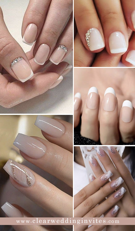 French Ombre Nails with Silver Glitter