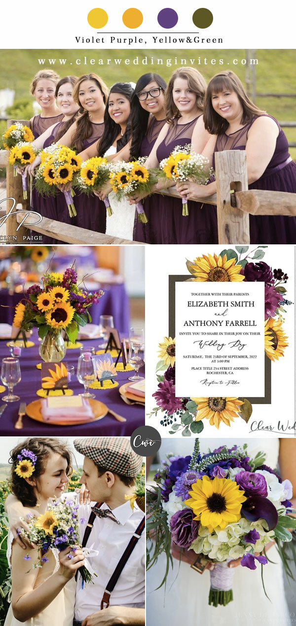Violet Purple, Yellow&Green Wedding Color Combos for Late Winter and Early Spring