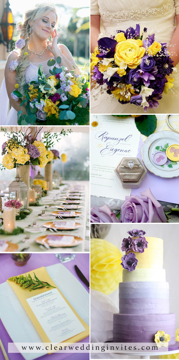 Violet and Bright Yellow bright and fresh wedding palette