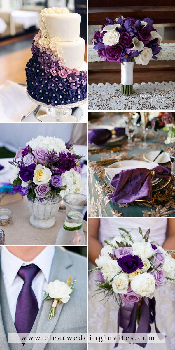 Shades of Violet and Ivory Wedding Colors and Decoration Ideas