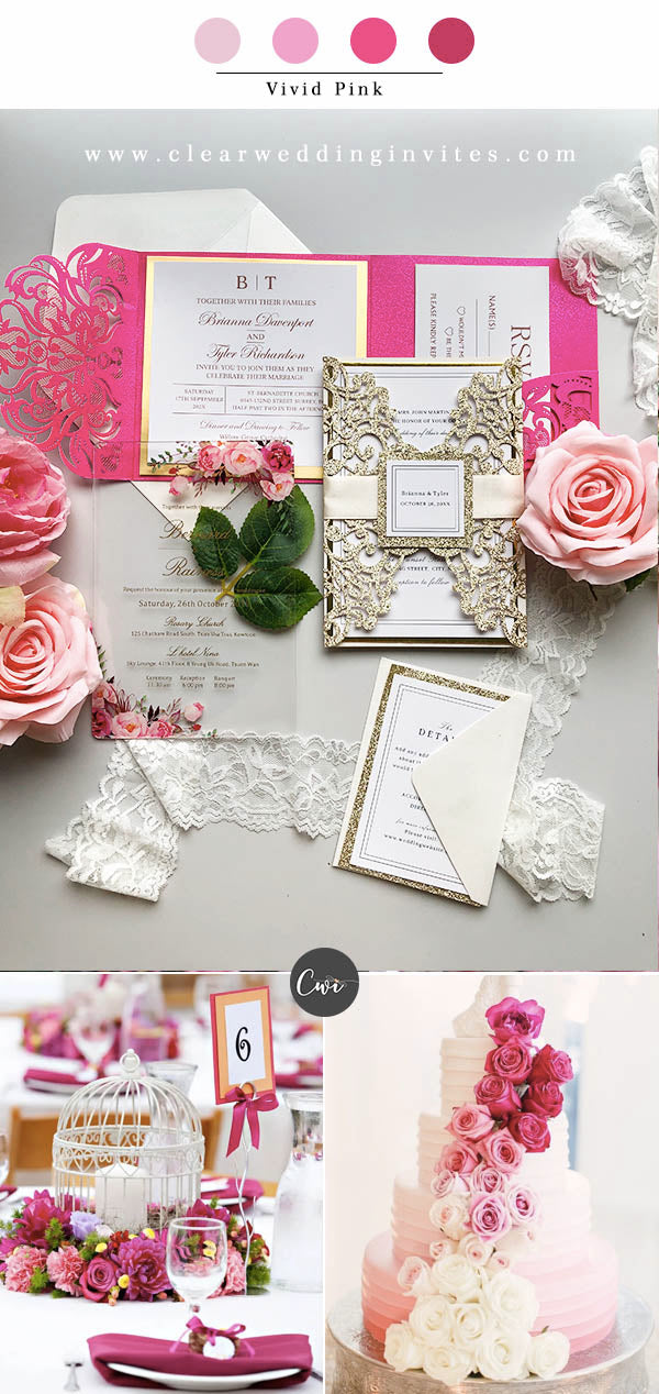 Vivid Pink,Green &Ivory Wedding Color Combos for Late Winter and Early Spring