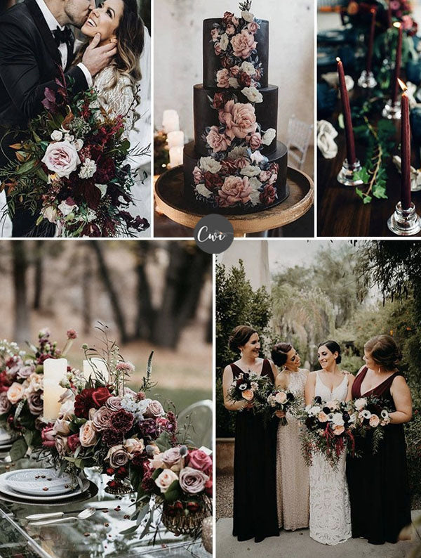 WINE,GREEN&BLACK Unique Cozy Winter Wedding Colors To Be Stunning