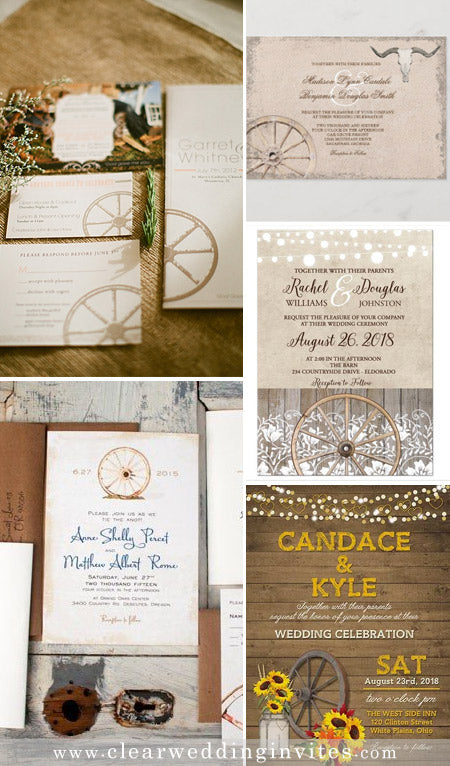 Easy DIY wheel wine wedding invitations for rustic and vintage themes