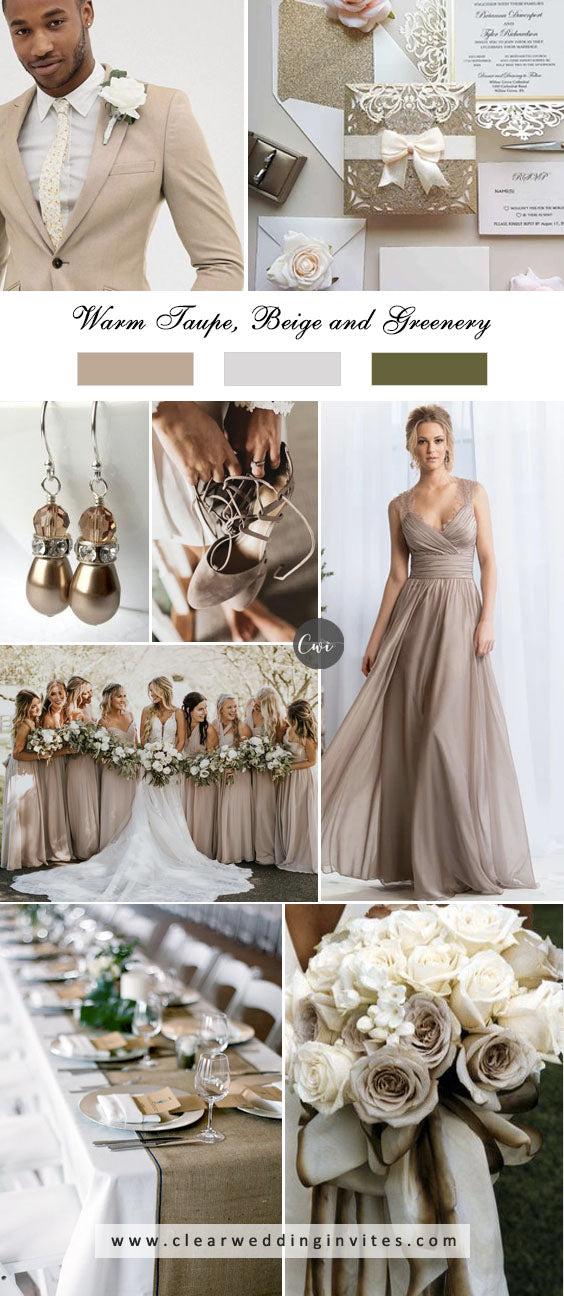 Warm Taupe, Beige and Greenery  breathtaking NEUTRAL WEDDING COLOR PALETTE IDEAS in 2022
