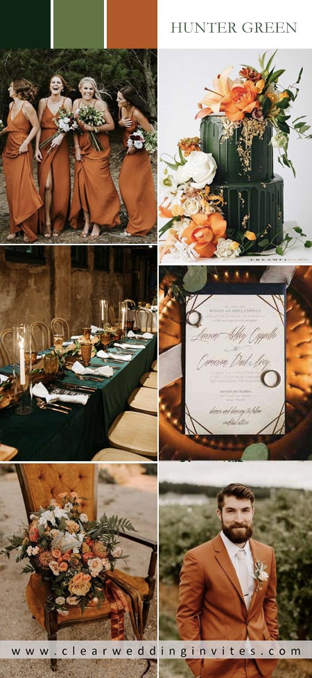 Warm earth tones and Hunter Green wedding color palette