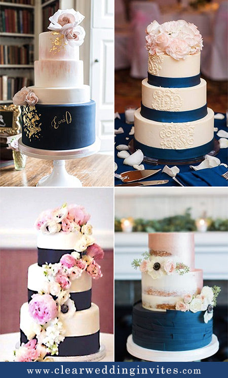 Wedding cakes in Navy and Pink