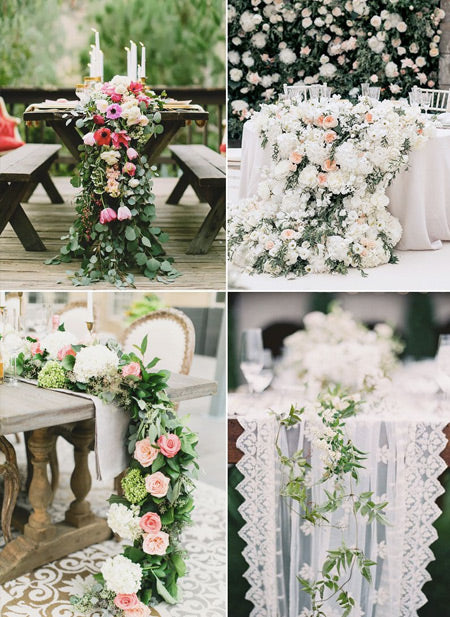 Wedding-centerpieces-filled-with-flowers-and-greenery